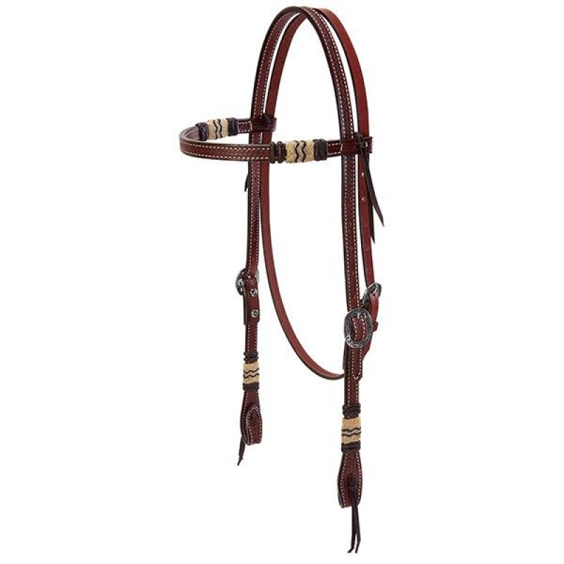 Basketweave Bridle Leather Browband Headstall with Rawhide Accents, Black Buttons