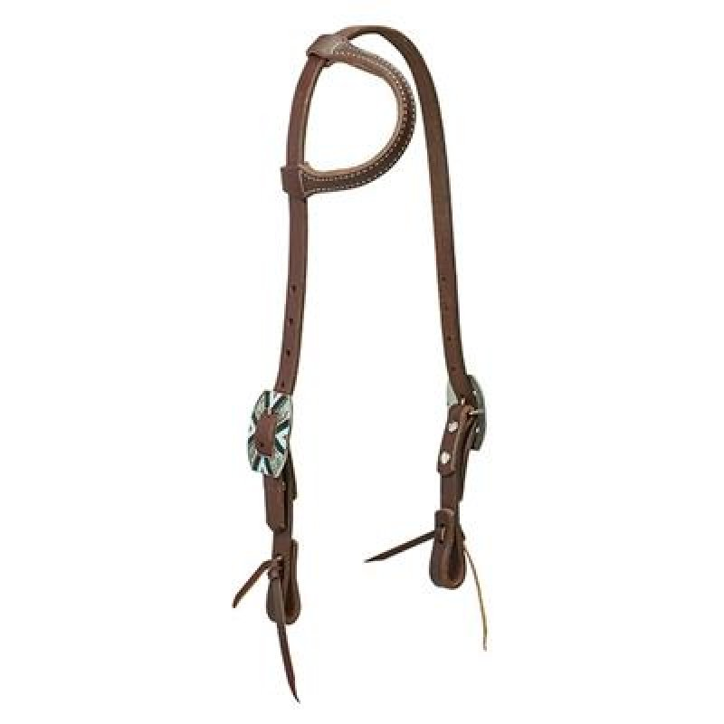 Working Cowboy Sliding Ear Headstall, Rope Edge Hardware, Golden Chestnut