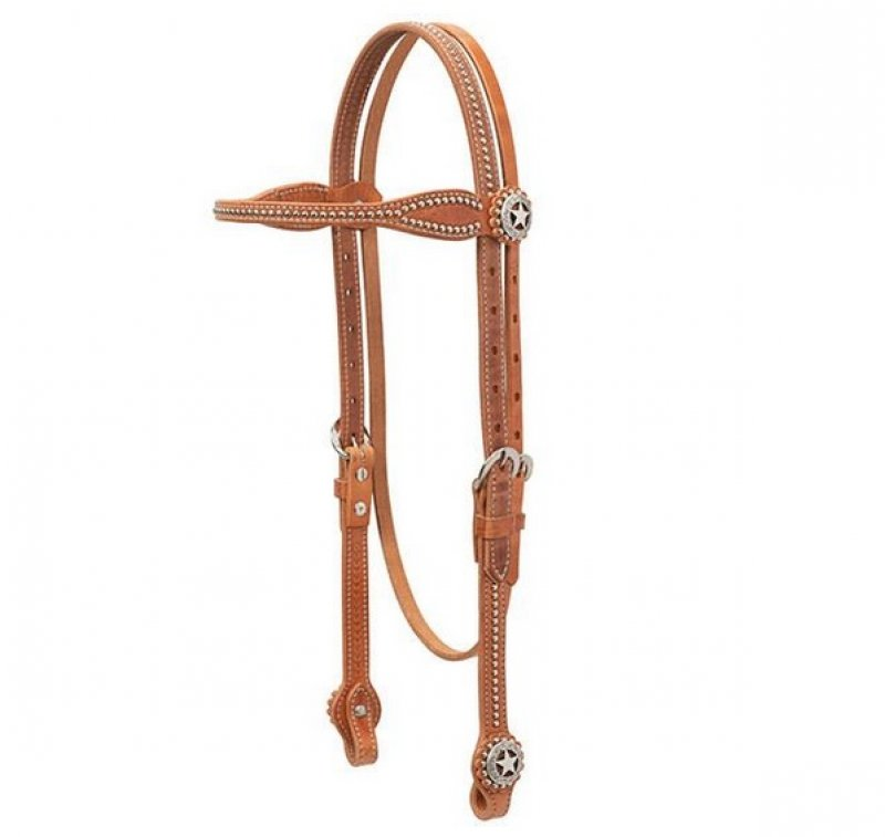 Texas Star Browband Headstall, Hermann Oak® Harness Leather  : natural
