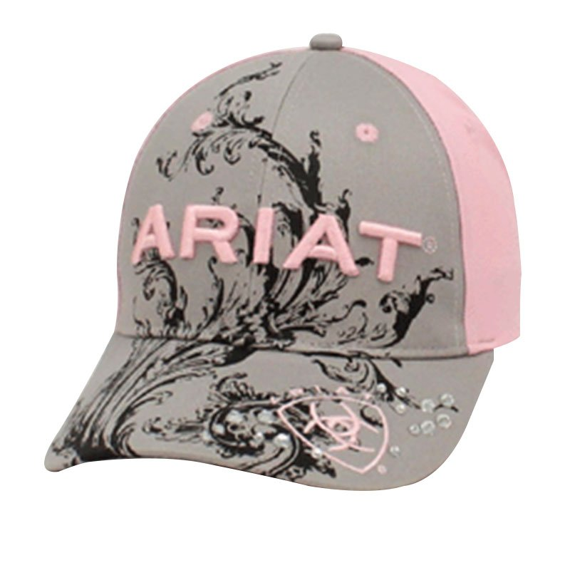 Ariat Pink/Gray Scroll Baseball Cap