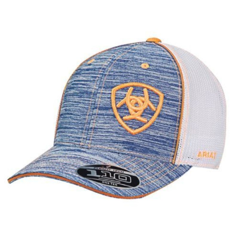 Ariat Light Blue Heather with Orange Trim Mesh Snapback Ball Cap
