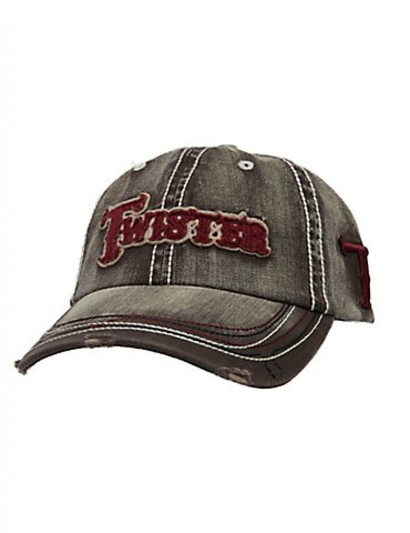 Men's Twister Ball Cap- gray -red