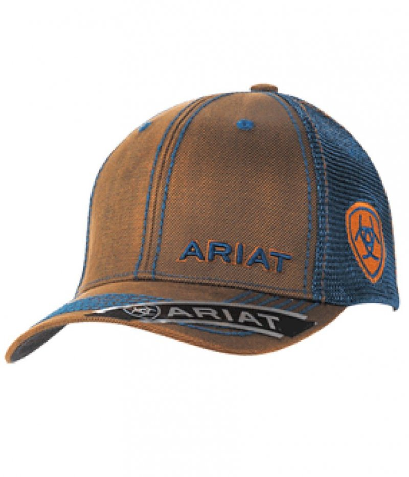 Ariat Brown Oilskin w/Teal Mesh Cap