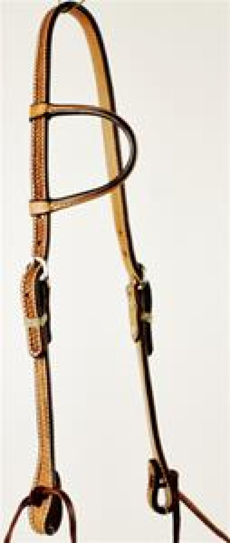 Basket Weave Tooled Slip Ear Headstall with Ties
