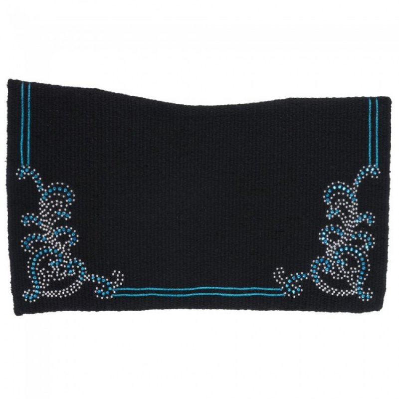 Contour Wool Saddle Blanket with turquoise Crystal Floral Design