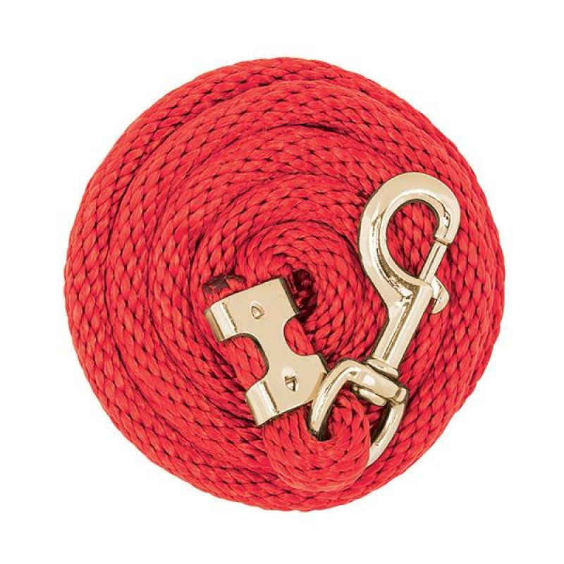 Value Lead Rope with Brass Plated 225 Snap, Red