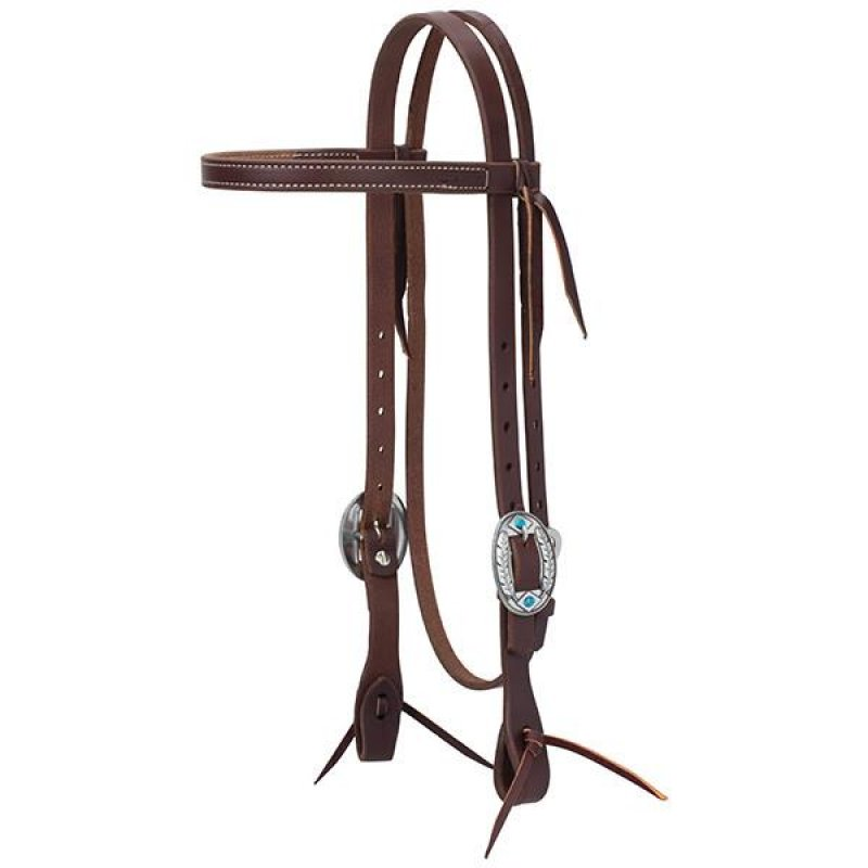 Working Tack Feather Designer Hardware Straight Browband Headstall