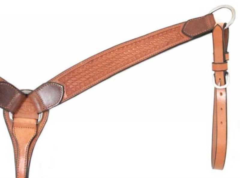 Basket Stamped Breastcollar - Oiled