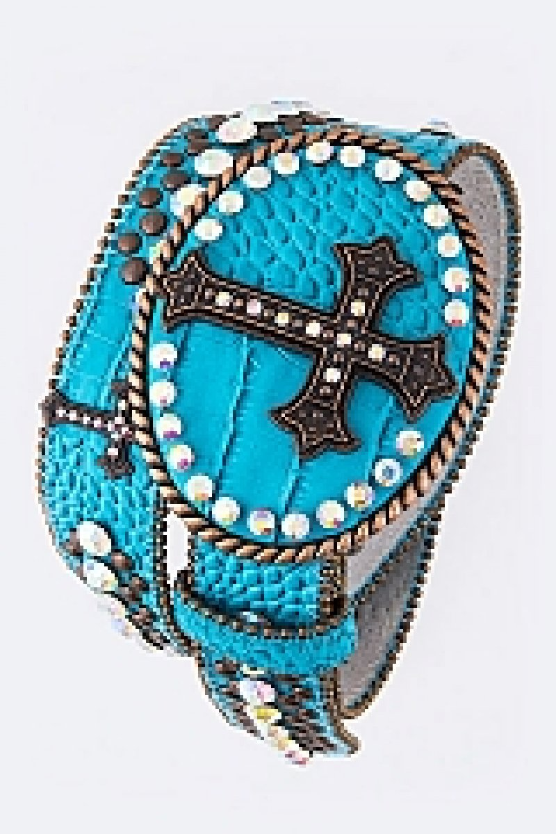 Crystal cross belt Turquoise
