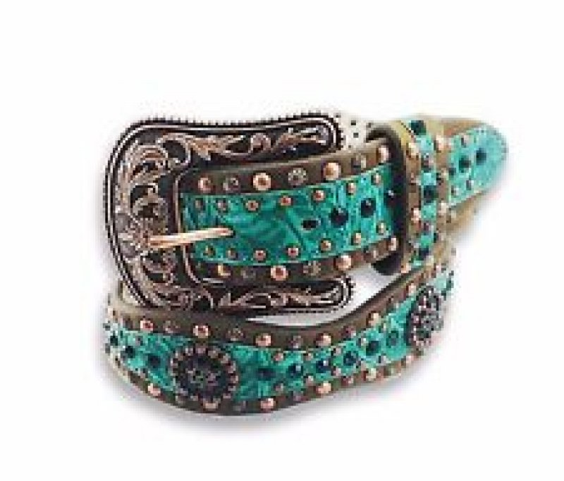 Ariat Western Belt Womens Crystals Studs Floral Brown Green