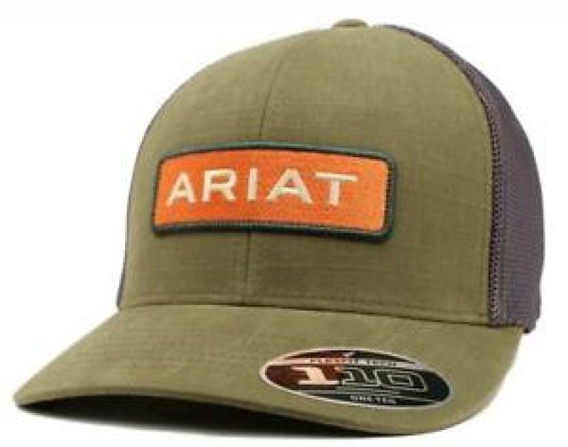 Baseball Cap Flex Mesh Back Logo Patch Olive Green