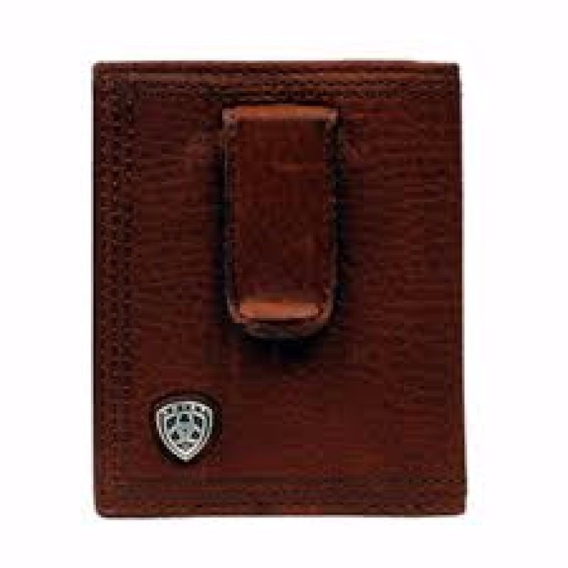 Leather Bifold Clip Concho Brown