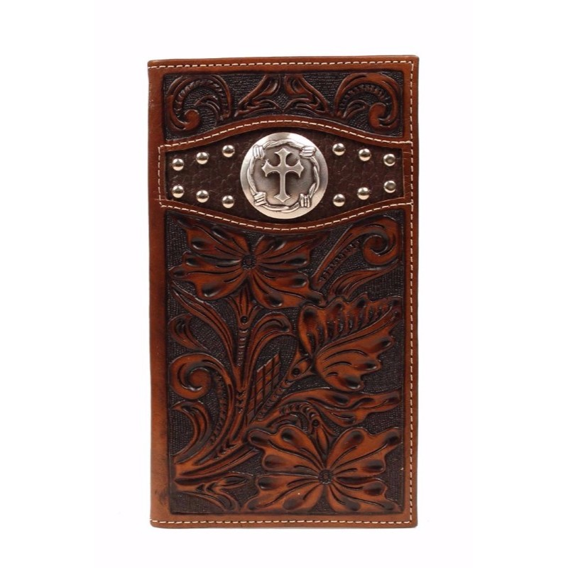 Ariat Premium Tri-fold Wallet With Cross