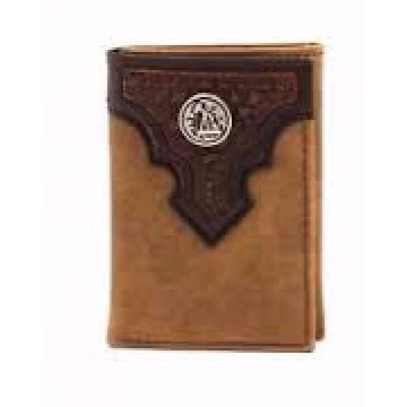Ariat Western Mens Wallet Trifold Weave Oil Rig Concho Aged Bark