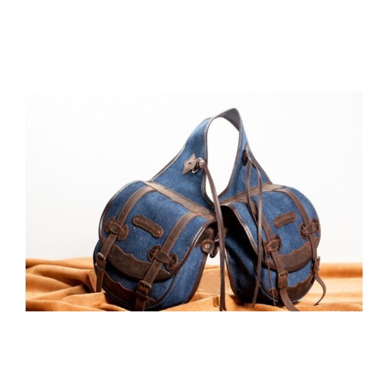 Medium rear saddle bag - Denim-Leather