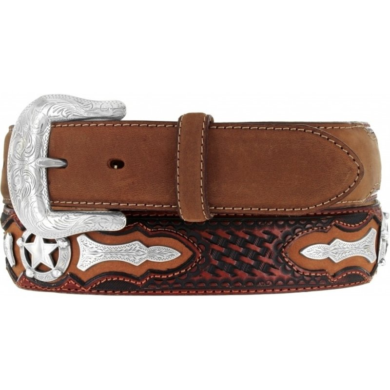 Weaver brown belt with star conchos