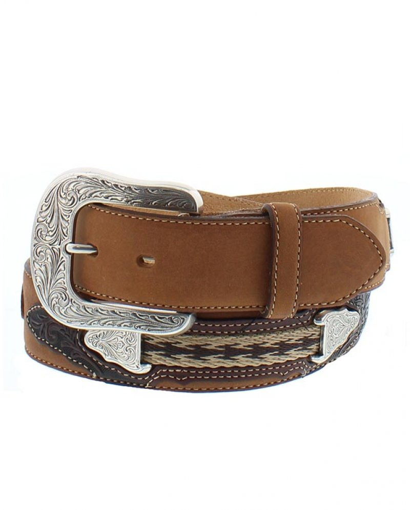 Brown Justin leather belt - cowboy trail