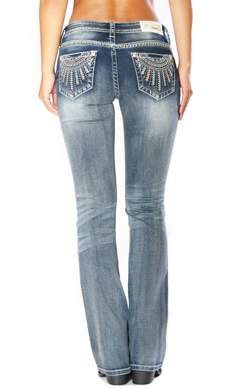 Grace In La - Distressed Wash Easy Fit Bootcut Jean Necklace eb81193