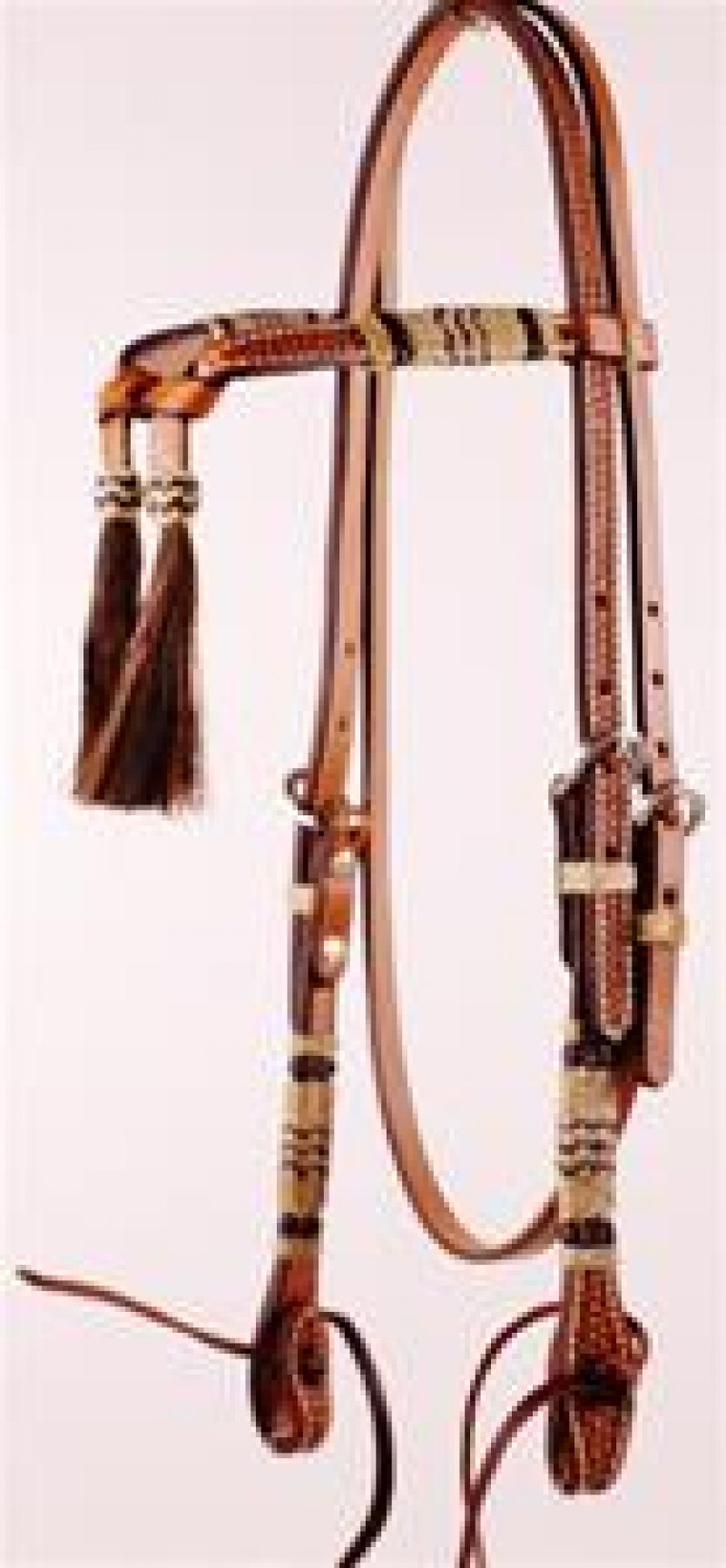 Tooled Futurity Knot Browband Headstall with Black & Natural Rawhide and Ties