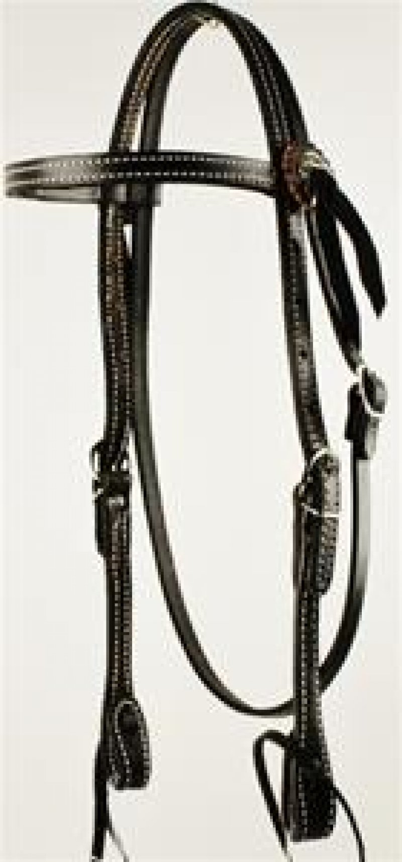 Black Dyed, Double & Stitched browband
