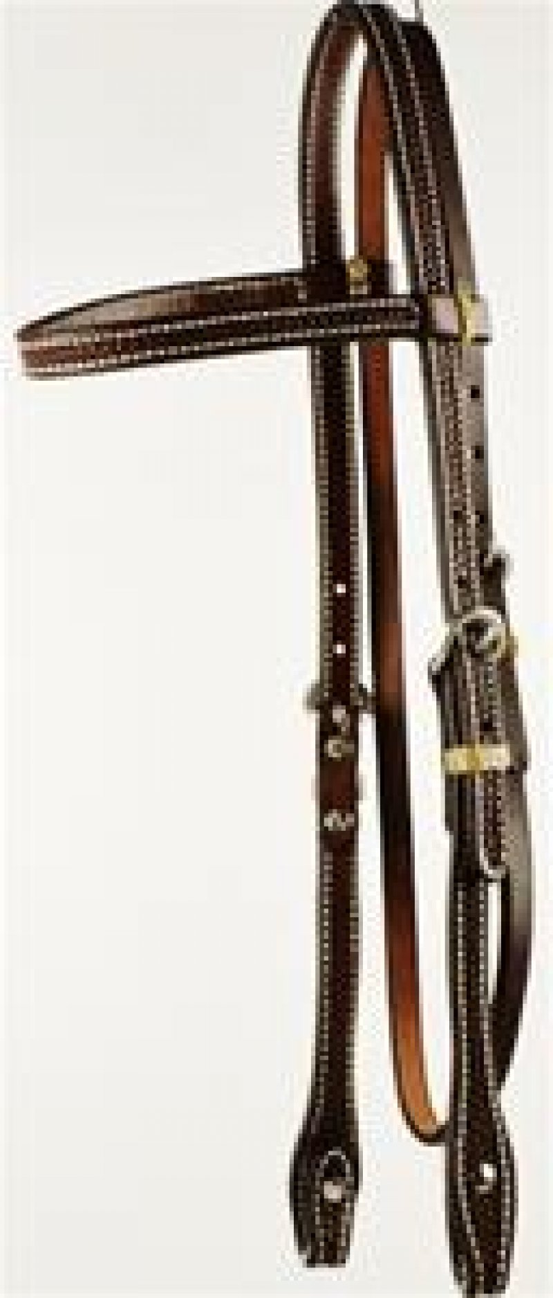 Oiled, Tooled Browband Headstall with Screws