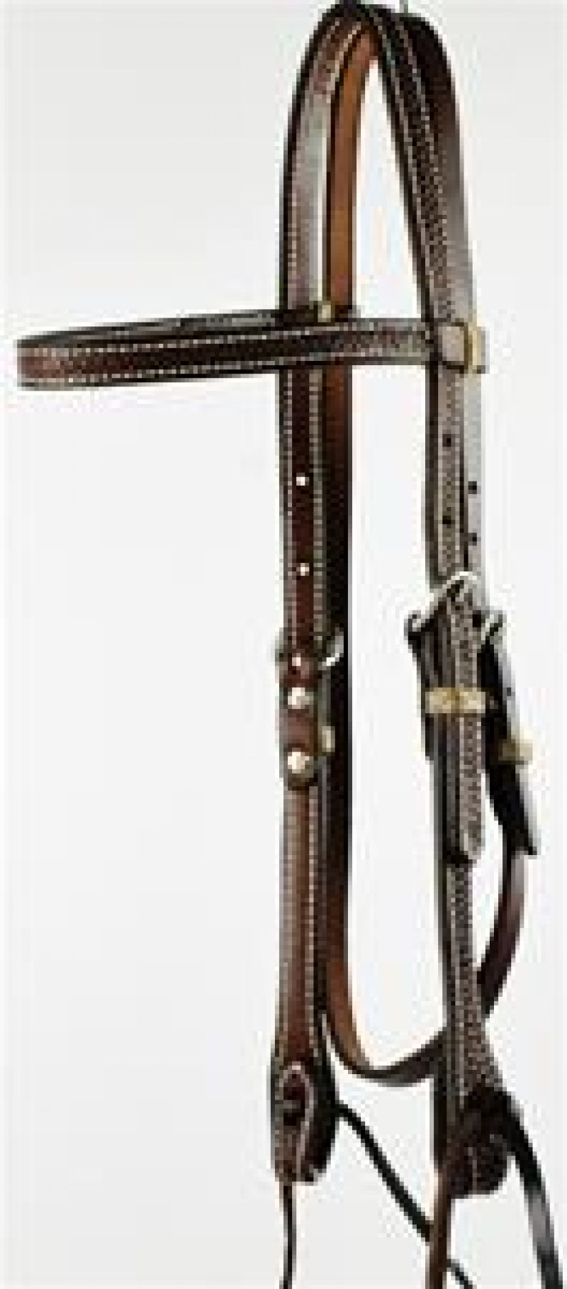 Oiled, Tooled Browband Headstall with Ties