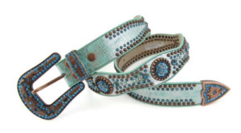 Scallop Round Concho Studded Belt