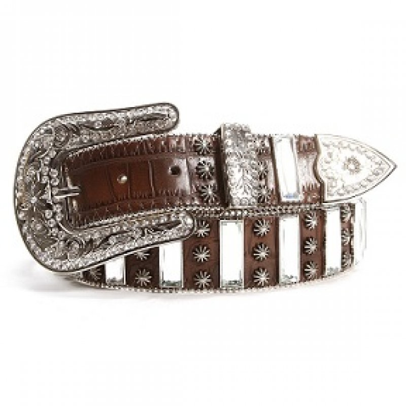 Brown belt with mirror accents