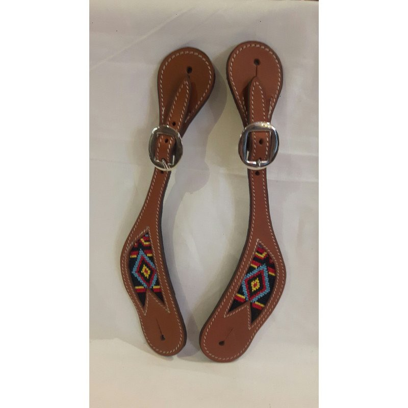 Cognac spur straps with beads